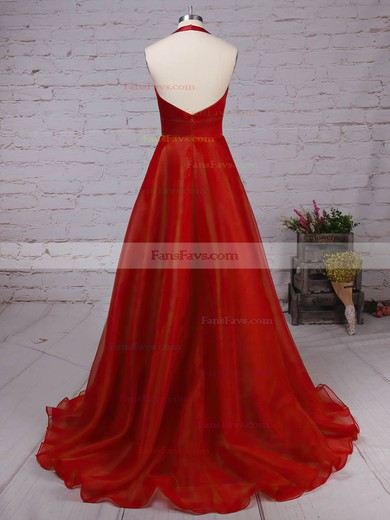 Princess Halter Satin Organza Sweep Train Draped Prom Dresses #Favs020105847