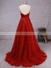 Princess Halter Satin Organza Sweep Train Prom Dresses #Favs020105847