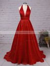 Princess Halter Satin Organza Sweep Train Draped Prom Dresses #Favs020105847