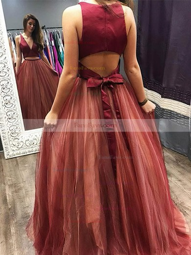 Princess V-neck Tulle Sweep Train Beading Prom Dresses #Favs020105848