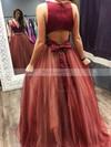 Princess V-neck Tulle Sweep Train Beading Prom Dresses #Favs020105848