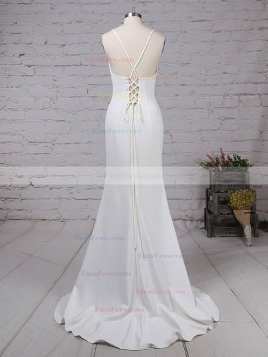 Sheath/Column V-neck Stretch Crepe Sweep Train Split Front Prom Dresses #Favs020105856