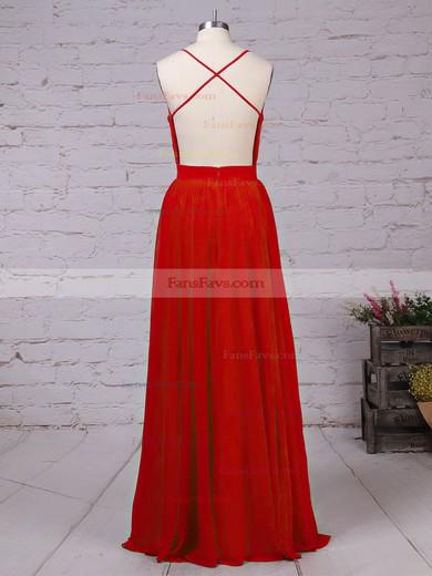 A-line V-neck Chiffon Floor-length Beading Prom Dresses #Favs020105860