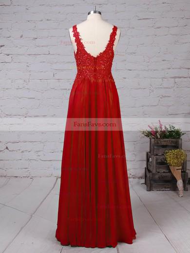 A-line V-neck Chiffon Floor-length Beading Prom Dresses #Favs020105861