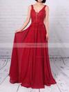 A-line V-neck Chiffon Tulle Floor-length Beading Prom Dresses #Favs020105861