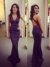 Trumpet/Mermaid V-neck Sequined Sweep Train Prom Dresses #Favs020102207