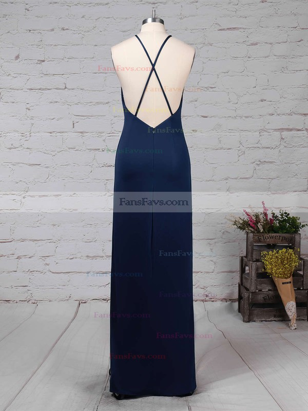 Sheath/Column Scoop Neck Floor-length Jersey Prom Dresses with Ruffle #Favs020104474