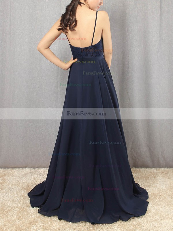 A-line Scoop Neck Chiffon Floor-length Appliques Lace Prom Dresses #Favs020105862