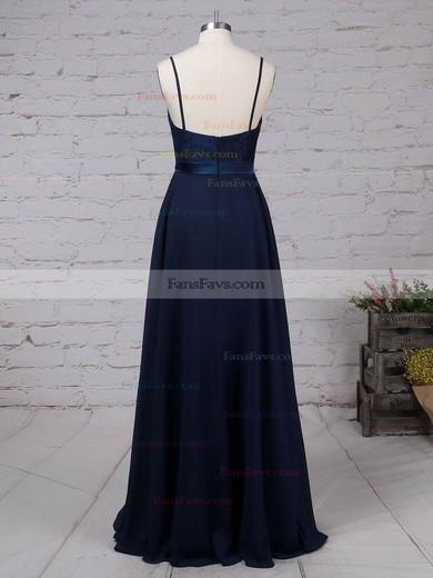 A-line Scoop Neck Chiffon Floor-length Appliques Lace Prom Dresses #Favs020105862