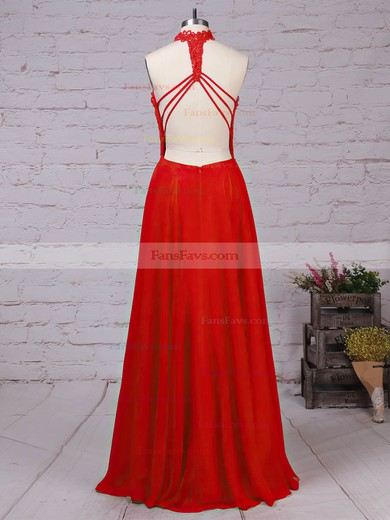 A-line High Neck Lace Chiffon Floor-length Beading Prom Dresses #Favs020105863