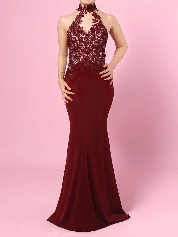 Sheath/Column High Neck Tulle Jersey Floor-length Beading Prom Dresses #Favs020105864