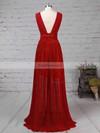 A-line V-neck Chiffon Floor-length Ruffles Prom Dresses #Favs020105865