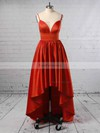 A-line V-neck Satin Asymmetrical Prom Dresses #Favs020105866