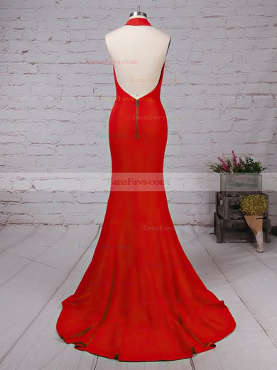 Trumpet/Mermaid Halter Elastic Woven Satin Sweep Train Prom Dresses #Favs020105867