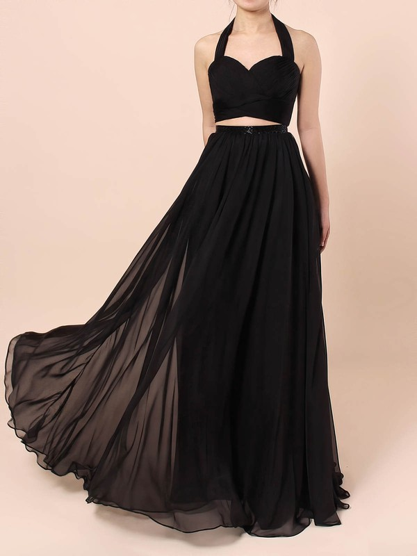 A-line Halter Chiffon Floor-length Sashes / Ribbons Prom Dresses #Favs020105869