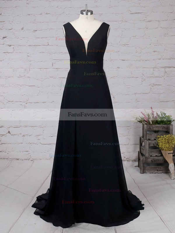 A-line V-neck Chiffon Sweep Train Split Front Prom Dresses #Favs020105871