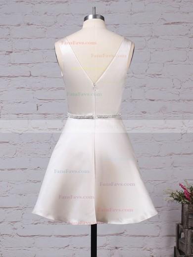 A-line V-neck Satin Short/Mini Beading Prom Dresses #Favs020105873