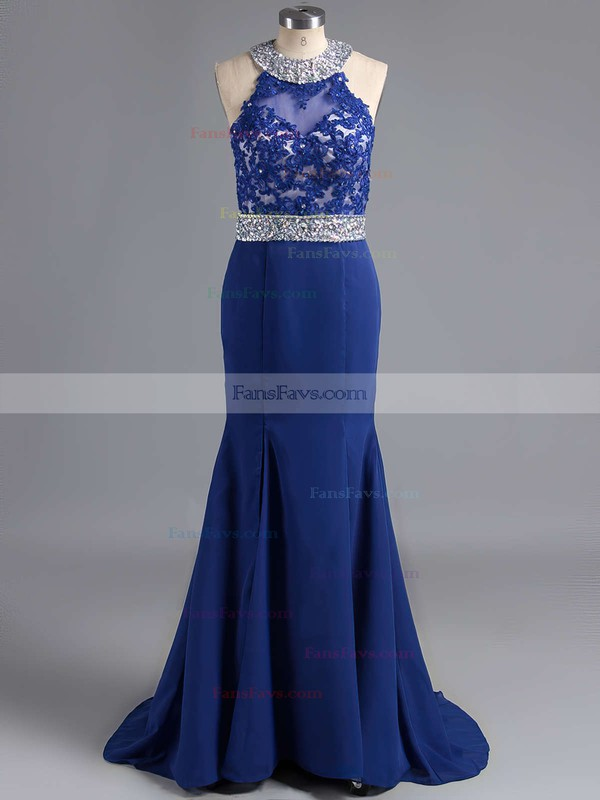 Trumpet/Mermaid Scoop Neck Sweep Train Chiffon Prom Dresses with Appliques Lace Beading #Favs020102056