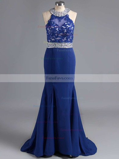 Trumpet/Mermaid Scoop Neck Chiffon Sweep Train Beading Prom Dresses #Favs020102056