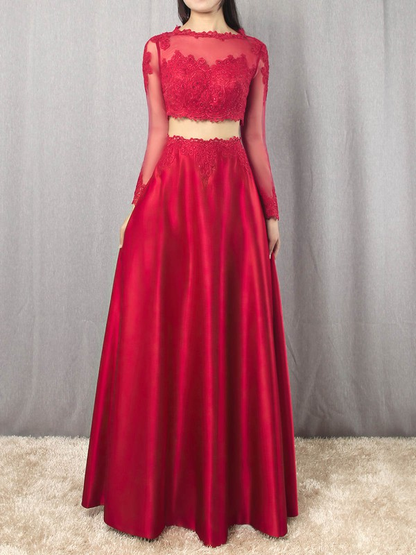A-line Scoop Neck Satin Floor-length Appliques Lace Prom Dresses #Favs020105879