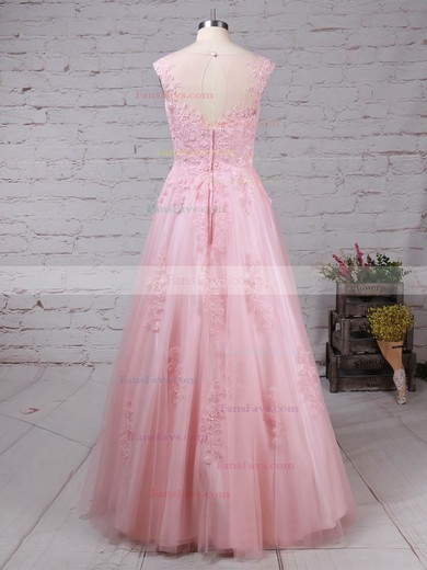 Princess Scoop Neck Tulle Floor-length Appliques Lace Prom Dresses #Favs020105893