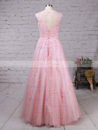 Princess Scoop Neck Tulle Floor-length Appliques Lace Prom Dresses #Favs020105893