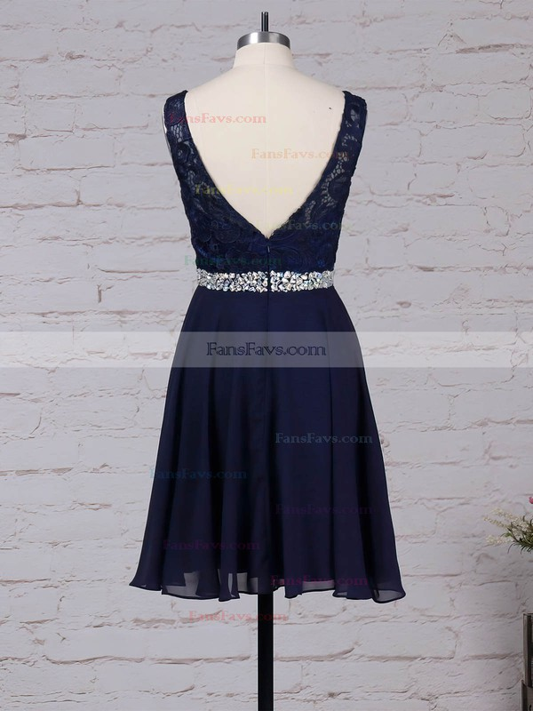 A-line Scoop Neck Lace Chiffon Short/Mini Beading Prom Dresses #Favs020105894