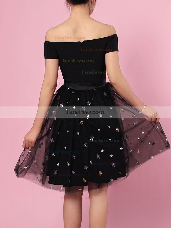 A-line Off-the-shoulder Tulle Short/Mini Beading Prom Dresses #Favs020105896