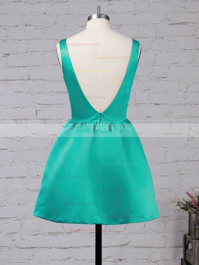 A-line Square Neckline Satin Short/Mini Prom Dresses #Favs020105898