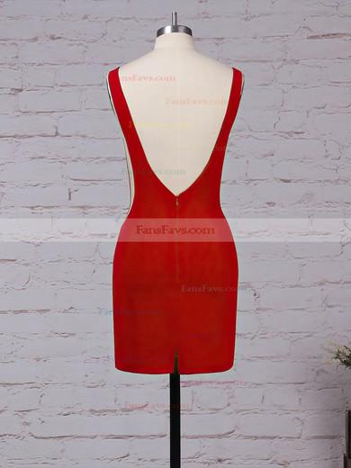 Sheath/Column Scoop Neck Tulle Elastic Woven Satin Short/Mini Draped Prom Dresses #Favs020105899