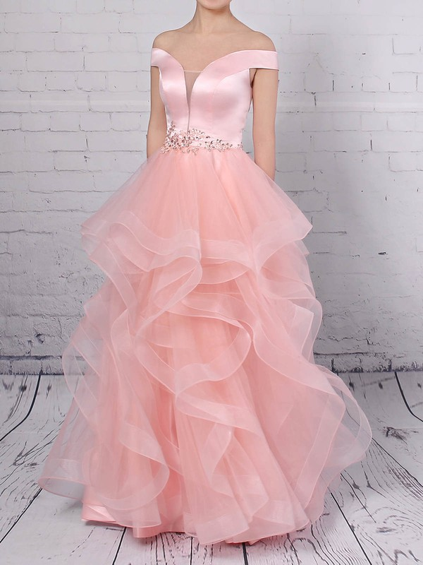 Ball Gown Off-the-shoulder Satin Organza Floor-length Beading Prom Dresses #Favs020105909