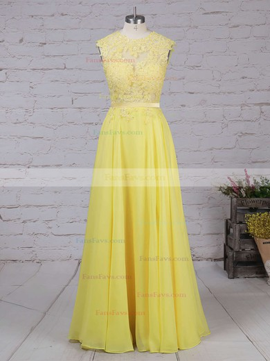 A-line Scoop Neck Chiffon Sweep Train Appliques Lace Prom Dresses #Favs020102057
