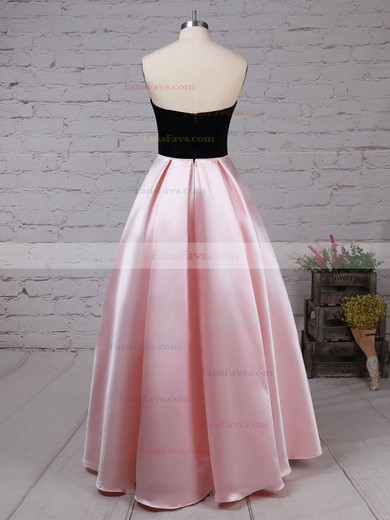 Ball Gown Strapless Satin Asymmetrical Pockets Prom Dresses #Favs020105911
