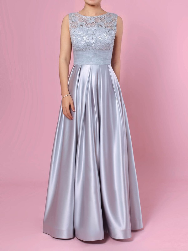 Princess Scoop Neck Lace Satin Floor-length Pockets Prom Dresses #Favs020105913