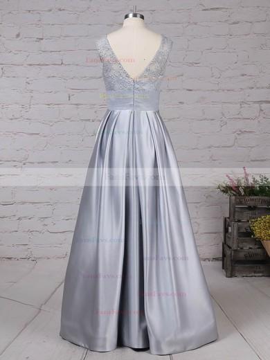 Princess Scoop Neck Lace Satin Floor-length Pockets Prom Dresses #Favs020105913