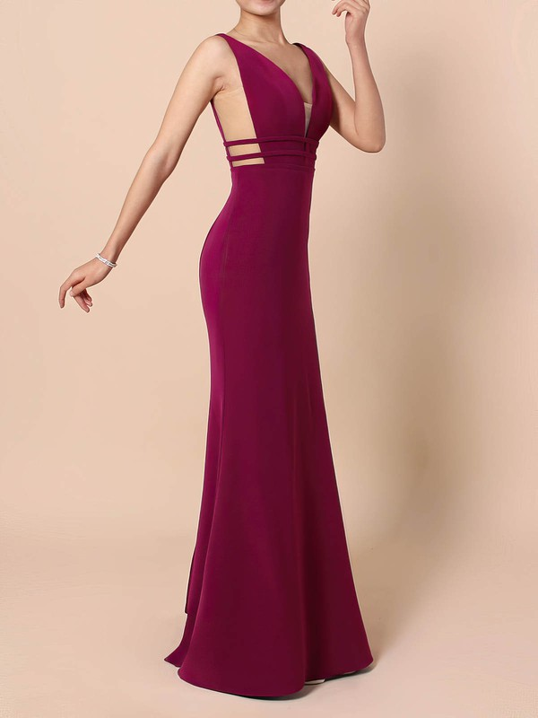 Sheath/Column V-neck Tulle Elastic Woven Satin Sweep Train Prom Dresses #Favs020105915