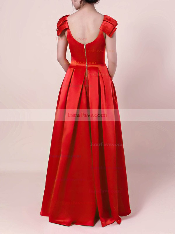 A-line Scoop Neck Satin Floor-length Prom Dresses #Favs020105917