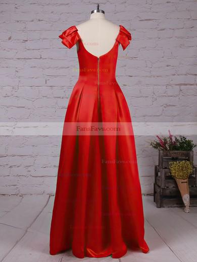 A-line Scoop Neck Satin Floor-length Prom Dresses #Favs020105917