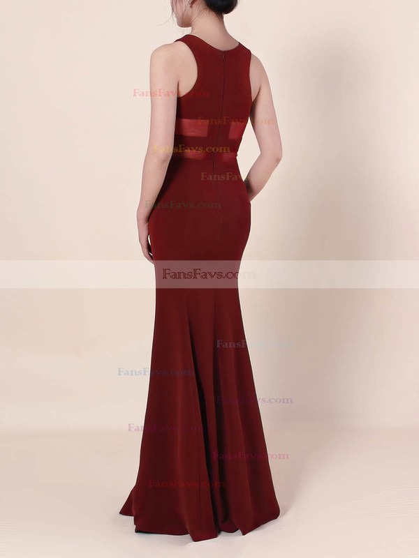 Sheath/Column Scoop Neck Tulle Elastic Woven Satin Sweep Train Prom Dresses #Favs020105919