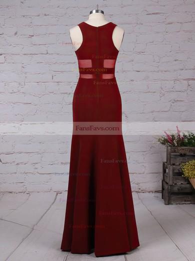 Sheath/Column Scoop Neck Tulle Elastic Woven Satin Sweep Train Prom Dresses #Favs020105919