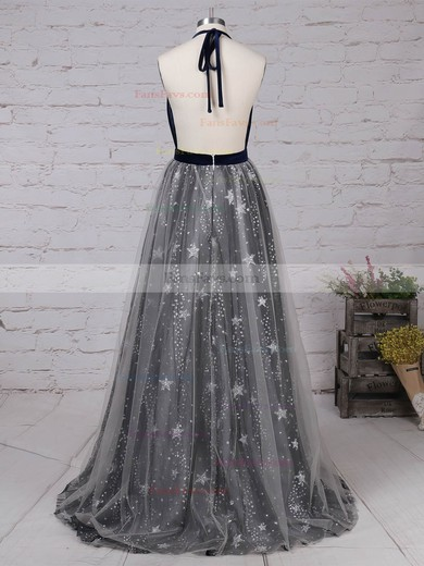 Princess Halter Tulle Velvet Sweep Train Sequins Prom Dresses #Favs020105920
