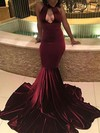 Trumpet/Mermaid Halter Velvet Sweep Train Prom Dresses #Favs020106113