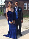 Sheath/Column Scoop Neck Tulle Velvet Sweep Train Beading Prom Dresses #Favs020106114