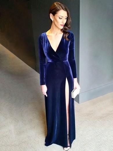 Sheath/Column V-neck Velvet Sweep Train Split Front Prom Dresses #Favs020106116