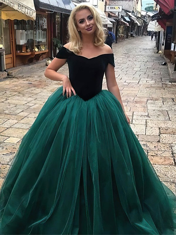 Ball Gown Off-the-shoulder Tulle Velvet Floor-length Prom Dresses #Favs020106117