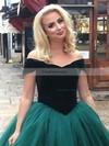 Ball Gown Off-the-shoulder Tulle Velvet Floor-length Prom Dresses #Favs020106117