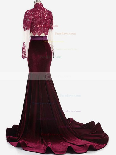 Trumpet/Mermaid High Neck Tulle Velvet Sweep Train Appliques Lace Prom Dresses #Favs020106118