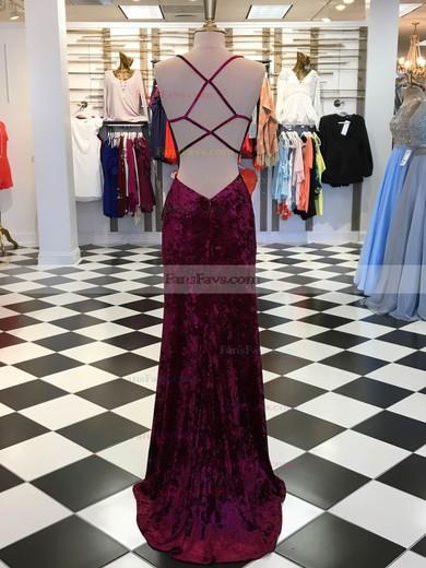 Sheath/Column V-neck Velvet Sweep Train Split Front Prom Dresses #Favs020106119