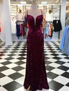 Sheath/Column V-neck Velvet Sweep Train Split Front Prom Dresses #Favs020106119