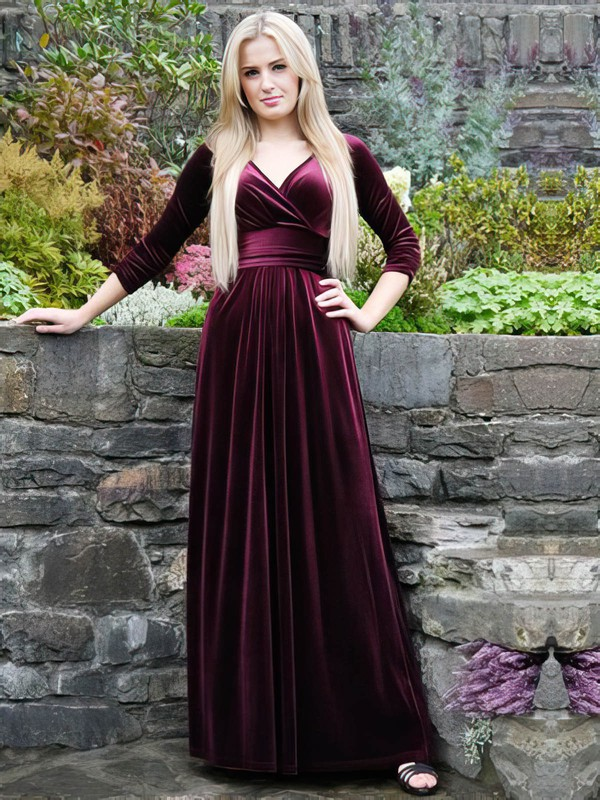 A-line V-neck Velvet Floor-length Prom Dresses #Favs020106121